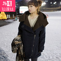 Plus size clothing winter medium-long cotton-padded jacket berber fleece outerwear long-sleeve cotton-padded jacket female