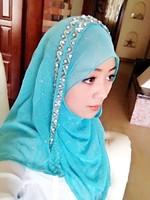 2014 FreeShipping Muslim muslim hijab scarf bandanas quality handmade beaded