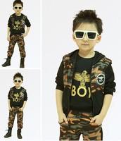 new 2014 spring autumn 3PCS long sleeve vest + T-shirt + pant children clothing set kis clothes girls boys Camouflage suit 7272