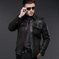 Wpkds2014 spring new arrival men's sheep genuine leather clothing short design epaulette turn-down collar slim jacket