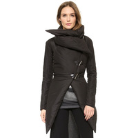 Fashion asymmetrical lingjiao sweep thickening cotton-padded jacket horn button bedposts wadded jacket haoduoyi