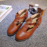 Brockden women's shoes flat plus size single shoes vintage small leather preppy style female british style shoes female shoes