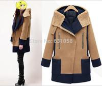 2014 Autumn / Winter  Women fall fashion Slim OL Trench Faux Long Design wool coat cashmere  outerwear Female cardigans Jacket