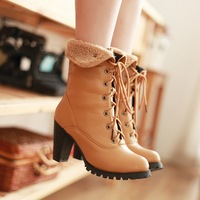 hot lace up ankle boots for women winter warm high heels platform boots