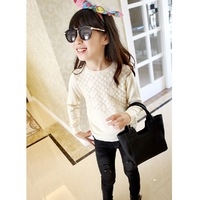 2014 Girls' knitted loose small cutout long-sleeve sweater pullover sweater