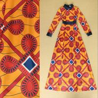 2014 Autumn Luxury Brands Elegant Formal Full Dress Women's Long Sleeves Turn Down Collar Baroque Abstract Print Long Dress