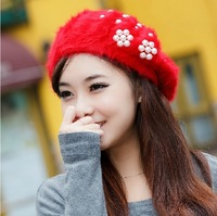 free shipping discount western women's autumn winter beret hat  knitted rabbit fur dome cap Knitting head dress headgear
