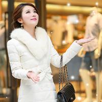 2015 luxury elegant white fashion slim medium-long large fur collar down coat female