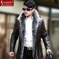 Wpkds fur collar male genuine sheepskin leather down coat leather clothing medium-long slim outerwear