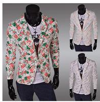 2014 Autumn Fashion Letter Print  Blazers Jackets Man Slim Fit Korean Styled Designers Blazer Suit