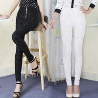 2014 Autumn and Winter Plus Size M L Elastic Cotton Lace Flower Women's Leggings Full Length Zipper Pencil Pants Trousers Capris