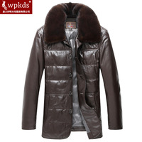 2014 men's leather clothing genuine leather male clothing leather clothing genuine leather down coat male quinquagenarian male