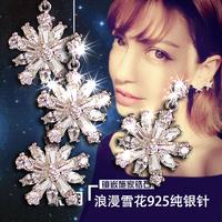 925 zircon pure silver needle accessories zircon silver earring earrings drop earring fashion rhinestone wedding jewelry E457