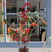 Fashion decorated home vase silk flower artificial flower home living room decoration flower rod fruit artificial plants