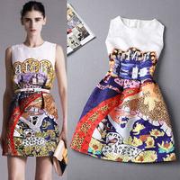 Eouropean and Americian 2014 autumn newest fashion commute print graffiti autumn dress vest dress princess dress S M L