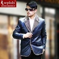 Wpkds 2013 genuine leather men's clothing sheepskin fur one piece rex rabbit hair liner male nick coat