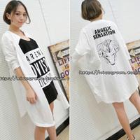 2014 autumn shirt cotton jemmied letter print stand collar shirt female medium-long shirt