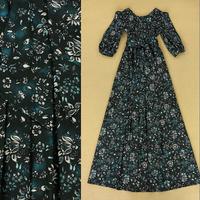 2014 Autumn Luxury Brands Vintage Formal Full Dress Women's Nobel Green Half Sleeves Flower Print Long Dress With Sashes