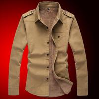 P75   2014 male plus velvet thickening long-sleeve shirt male 514