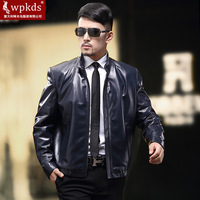 Wpkds genuine leather clothing leather jacket male spring and autumn single leather motorcycle paragraph sheepskin stand collar