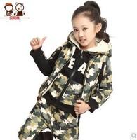 Free shipping 2014 new winter Camouflage plus velvet thickening sweatshirt 3PCS sets Children's clothing (110-160cm)