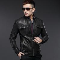 Wpkds2014 spring new arrival men's sheepskin genuine leather clothing short design stand collar slim outerwear