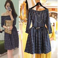 2014 women summer autumn long sleeve dress casual print dresses vestido de festa free shipping women clothing