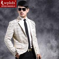 Wpkds male sheepskin genuine leather fashionable stripe casual male genuine leather suit