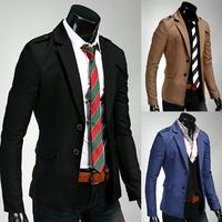 Men's Casual Stylish Blazer Top Design Epaulets on Shoulders Slim Fit Solid Color Nice Leisure Suit for Men