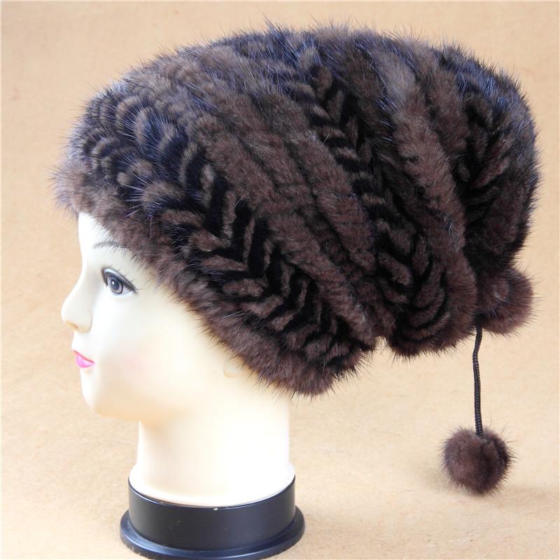 Top luxury European Brand famous Handmade Knitted Genuine MInk fur berets female cap for wopmen boinas femininos(China (Mainland))