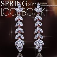 austria bling crystal earrings zircon cubic stud earring crystal startlingly flower accessories long design dangle earrings E389