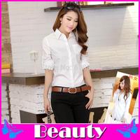Fashion Blusas Femininas 2014 plus size women blouses long sections Slim long-sleeve camisas femininas S-XXL Blend Cotton blouse