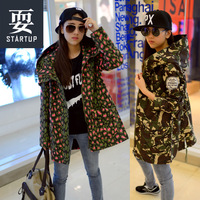 Free shipping  tooling camouflage loose medium-long trench female outerwear