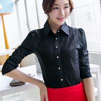 2014 Autumn ol elegant lace patchwork long-sleeve chiffon shirt female sexy basic shirt