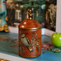 For dec  orated home ceramic storage jar vintage colored drawing decoration storage tank copilots