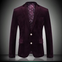 Classic Gold velvet Men Suit Blazer 2014 New Arrival High Quality Plus Size M- 4XL Slim Fashion Casual Suit Jackets Wine #6768