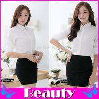 Fashion blusas femininas 2014 Solid camisas femininas women blouses Professional ladies white long-sleeved collar shirt
