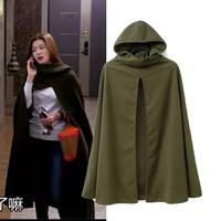 2014 Fashion Wholesale Womens Green Wool Blend Cape Long Jacket Coat Hooded Free Shipping