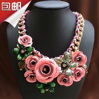 Fashion high quality flower crystal gem metal three-dimensional flowers short design necklace female