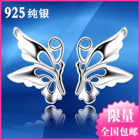 925 pure silver stud earring cutout butterfly earrings female earrings mini silver jewelry gift