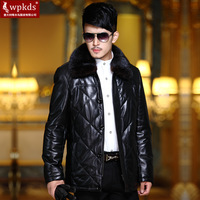 Ultralarge wpkds winter mink turn-down collar fashion slim genuine sheepskin leather down leather clothing male