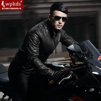 2014 male motorcycle leather jacket genuine leather clothing male brief sheepskin slim type