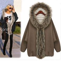 Free shipping Women's cotton-padded jacket  medium-long mm plus size cloak batwing sleeve wadded jacket outerwear