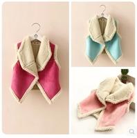 2014 autumn female child berber fleece large lapel soft suede fabric vest
