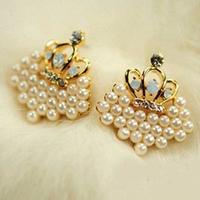 Accessories gentlewomen elegant pearl love stud earring diamond beads love fashion stud earring