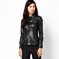 Free Shipping Black PU elastic slim turn-down collar long-sleeve shirt
