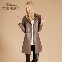 Genuine leather women dress trench female medium-long 2014 autumn dress casual clothing genuine leather coat sheepskin