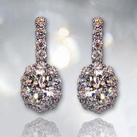 Dangle Earring for Women/Girls 925 Sterling Silver Wedding Jewelry Zircon austrian crystal earrings diamond jewelry drop earring