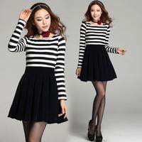 2014 spring and autumn women's elegant long-sleeve slim plus size black and white stripe one-piece dress