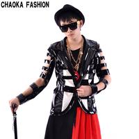 2014 New fashion Japanned Leather Male Cutout series patchwork suit  singer dj dance clothes